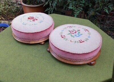 Pair Lovely Victorian Style Round Footstools~Floral Tapestry & Velvet~Bun Feet