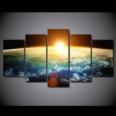Sun through Earth surface 5 PCs Canvas Wall Art Poster Print Picture Home Decor