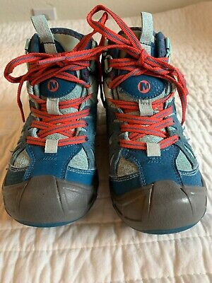 MERRELL Blue Hiking Boots Capra WTPF Mid Kids Childrens Boys Girls Youth Sz 12M