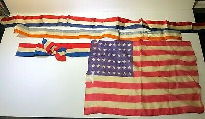 Old Antique Vtg 19th C 1920s Small 48 Star Silk Flag 11x15 Suffrage Ribbons Lot