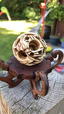 Antique Victorian Chinese Puzzle Ball 5 Layer