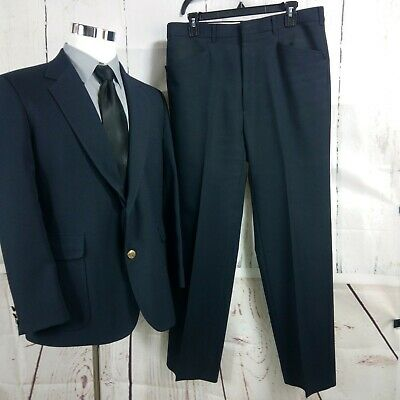 Haggar 41S 2 Metal Button Navy Blue 2pc Suit 34x29.5 Flat Front