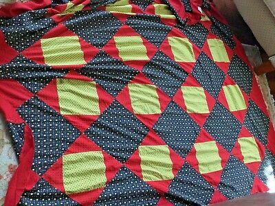 Stunning antique quilt top signed and dated.( red's yellows and black)