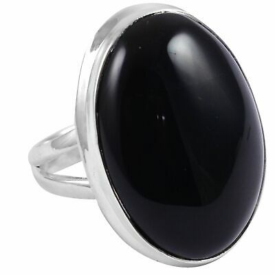 Black Onyx Solid 925 Sterling Silver Ring  Jewelry Size-6.25 AR-2321