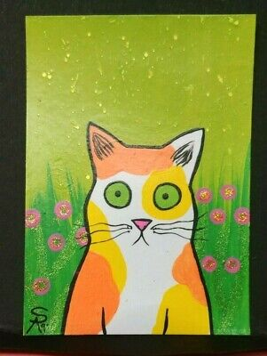 Original OOAK Painting ACEO ATC 2.5 x 3.5 Signed Spotted Yellow Orange Cat