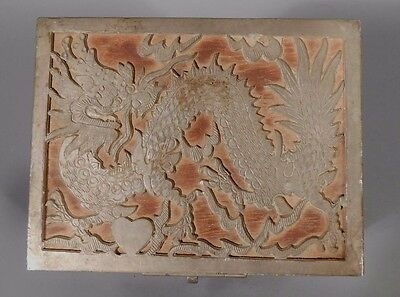 Fine Old Antique China Chinese Pewter and Wood Dragon Decoration Box