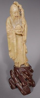 Fine China Chinese Heavy Stone Statue of Shou Lao Holding Staff Qing ca. 19th c.