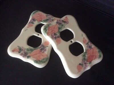 2 Vintage 1986 Pottery by Levine Richmond, CA Floral Outlet Covers, Signed 'MH'