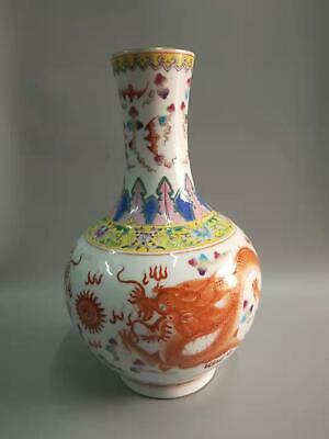 Large Chinese Famille Rose Porcelain Dragons Vases Hand-painting Marks QianLong