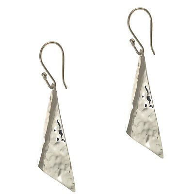 925 STERLING SILVER HAMMERED TRIANGLE GEOMETRIC EARRINGS   Taxco Mexican Jewelry