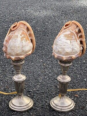 1939 Manhasset Bay Yacht Club Cameo Conch Shell Sterling Silver Lamps Trophy