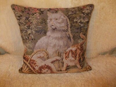 Tapestry style woven cat kitten cushion. Zipped with feather pillow insert.