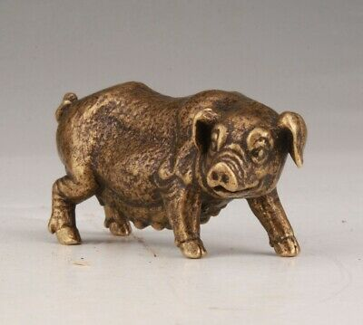 Unique Bronze Statue Animal Pig Mascot Home Decoration Gift Collec Old
