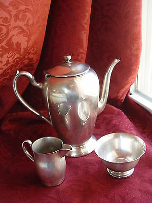 "ca1930 EXCELLENT ""ACADEMY"" SILVER ON COPPER COFFEE/TEA SET, MADE IN USA"