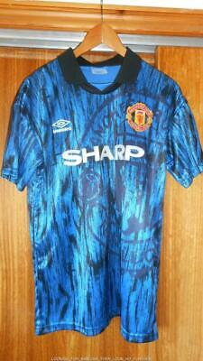 "BNWT RARE RETRO MAN UTD 3rd SHIRT SEASON 1990/1991 ""CANTONA"" 7 ON BACK ADULT L"