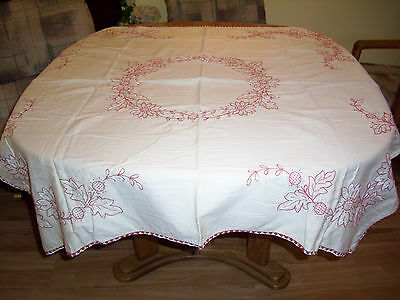 Vintge Embroidered Cotton Tablecloth Beige Red White Flower Crochet Trim 47 x 52