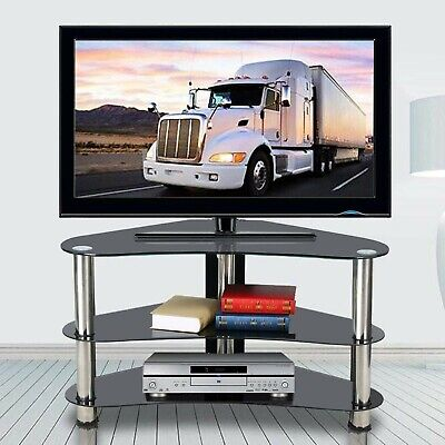 Yaheetech Black Glass Corner TV Stand Unit 3 Tier for 26 to 42 Inch Plasma LC...