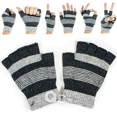 Men Women Winter Warm Knit Wool Insulated Fleece Magic Fingerless Gloves Mitten