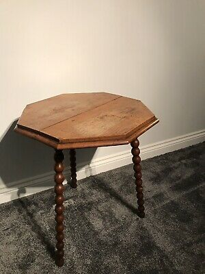 Antique Oak Octagonal Gypsy Table on Bobbin turned legs-side-Vintage-bespoke