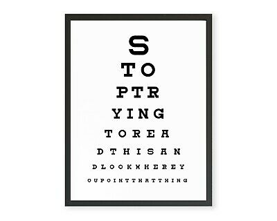 Funny Bathroom Toilet Eye Test Poster WC Humour WordArt Print Typography Picture