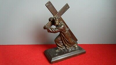 Antique/Vintage Spelter Bronze Figure Jesus Carrying Cross Religious Stamped M.R
