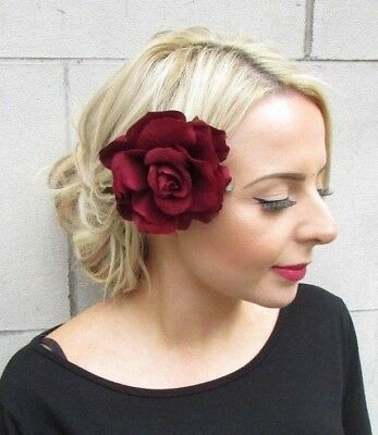 Halloween Day of the Dead Large Burgundy Wine Red Rose Flower Hair Clip Goth rq1