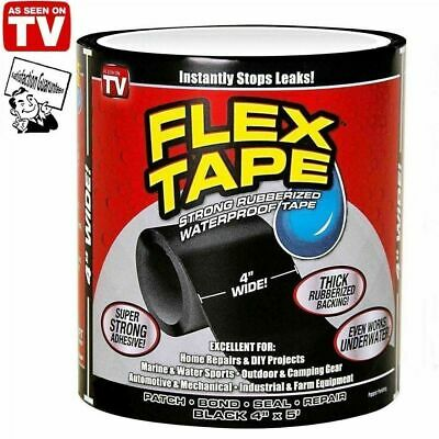 Black Strong WaterProof Flex Tape Black 4'x 5' Rubberized Seal Stop Leaks UK