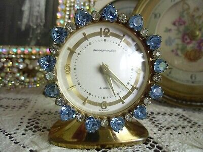 "Rare Vintage Phinney-Walker Rhinestone Alarm Clock ""Germany"" Works"