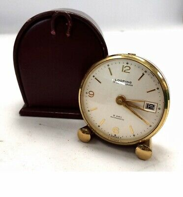 Vintage LOOPING 8-DAY Mechanical Travel Clock In Leather Case WORKING - T15