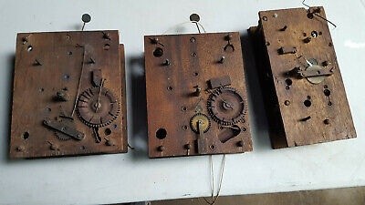 THREE LOT Antique American Wooden Works Shelf Clock  Movement,