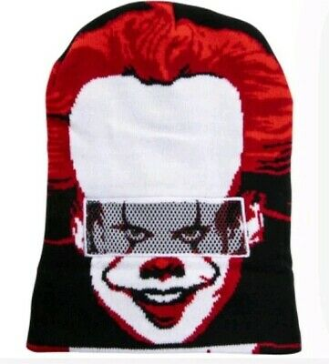 Nwt Stephen Kings It 2 Pennywise Clown Roll Down Knit Beanie Hat Halloween Mask