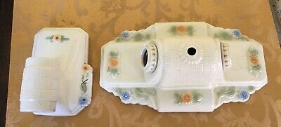 Vntg Antique Art Deco  Porcelain Dual socket Wall Fixture & matching sconce