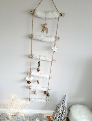 Large White Fluffy Hanging Decorative Christmas Wall Ladder With Figures 144cm!