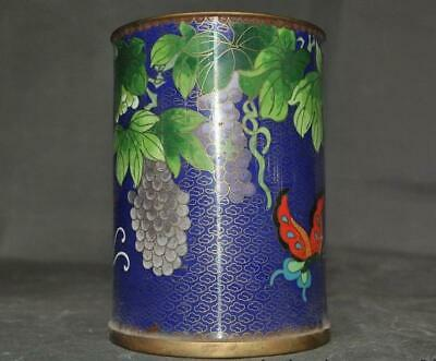 Old Chinese Bronze Cloisonne Enamel color Butterfly Grape Brush Pot Pencil Vase