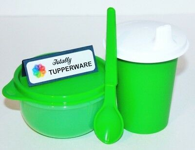 Tupperware Baby Feeding Set 7 oz. Sippy Bell Tumbler, Ideal Bowl & Spoon Green