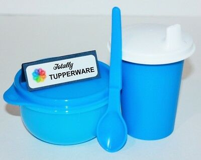 Tupperware Baby Feeding Set 7 oz Sippy Bell Tumbler Lil' Ideal Bowl & Spoon Blue