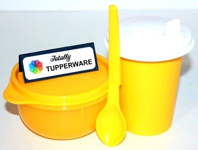 Tupperware Baby Feeding Set 7 oz. Sippy Bell Tumbler, Ideal Bowl & Spoon Yellow