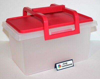 Tupperware Carry All 26 Cup Small Storage Container with Handle Raspberry Red