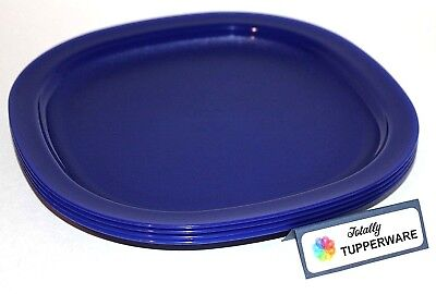 """Tupperware Plates Set of 4 Square 9.5"""" Luncheon, Lunch and Dinner Dishes Blue"""