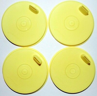 Tupperware Sipper Sippy Seals Set of 4 Flat Yellow G Bell Tumbler Lids 1552 Rare