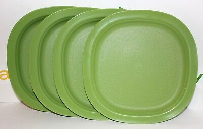 """Tupperware Plates Chic Dining Set of 4 Square 9.5"""" Lunch and Dinner Dishes Green"""