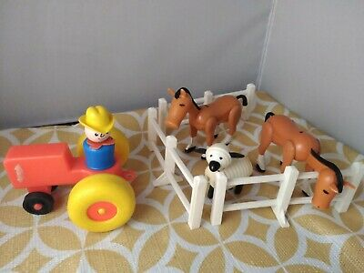 Vtg Fisher Price Little People Horses Sheep Tractor Farmer Fence Lot
