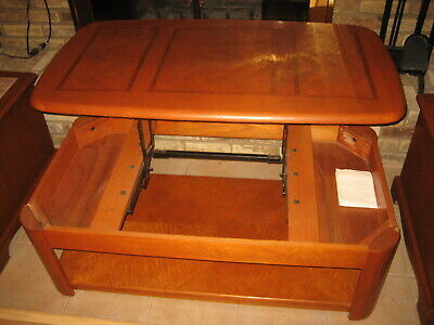Rare Super Solid Inlaid Oak Side Coffee Table With Lifting Top!
