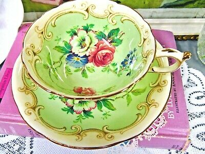 PARAGON tea cup and saucer VICTORIAN pink rose floral pale green teacup England
