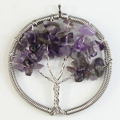 Amethyst Gemstones Tree of Life Reiki Chakra Chips Beads Pendant for Necklace