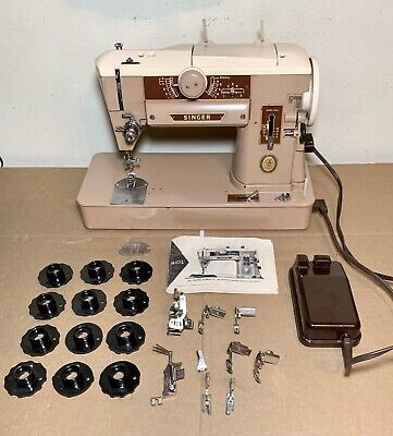 Vintage Singer 401A Sewing Machine W/ Feet & Cams