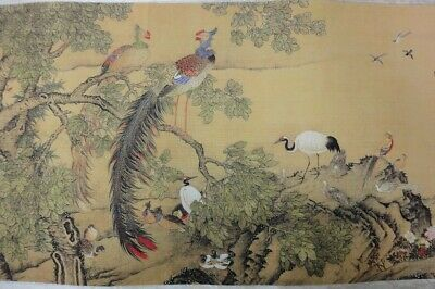 """Very Long Old Chinese Scroll Hand Painting 100 Beautiful Birds """"ShenQuan"""" Marks"""