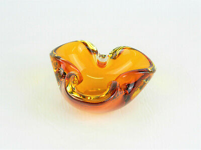 Beautiful Vintage Murano Italy Amber Hand-Blown Art Glass Free Form Ashtray!