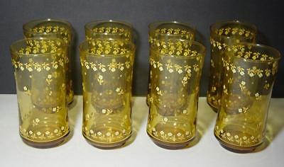 Set of 8 Vintage Anchor Hocking Amber Glasses Tumblers with Little Flowers VGC!