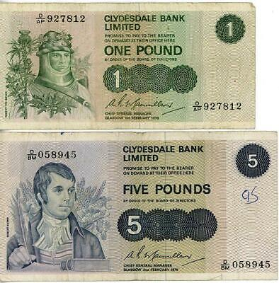 2 x 1970's Clydesdale of Scotland Banknotes £1and £5